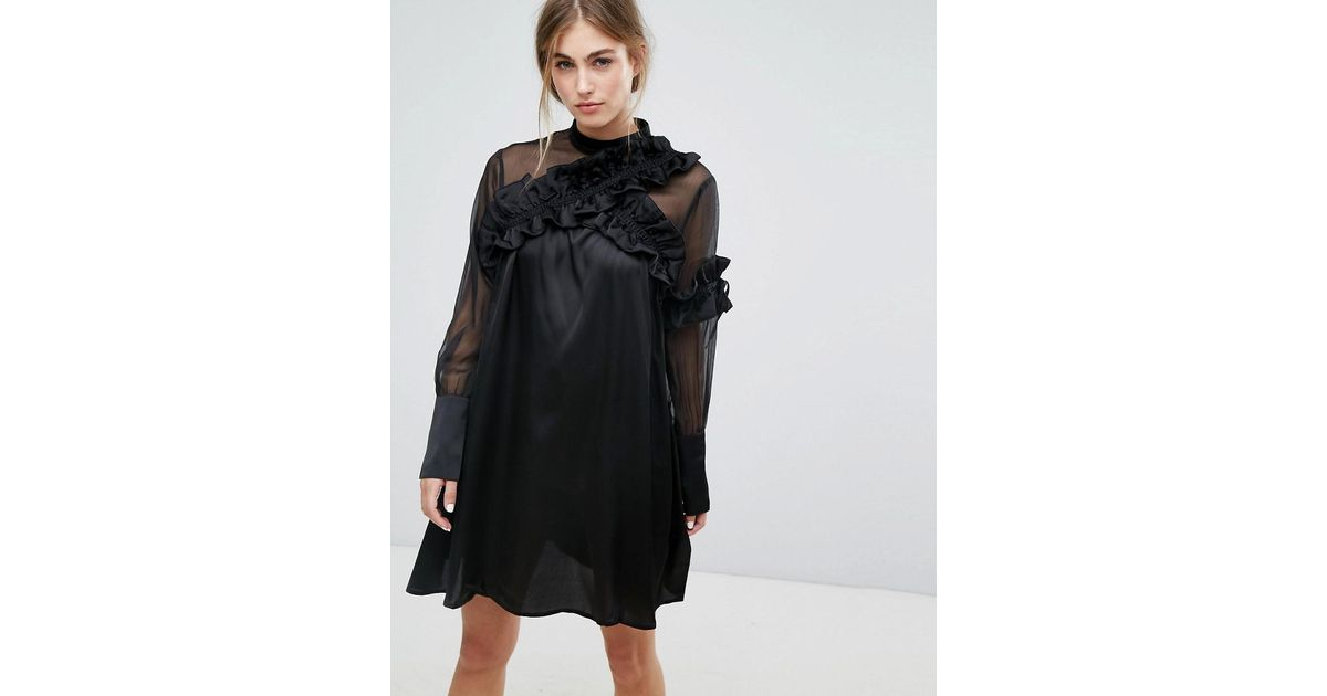 Long Sleeve Shift Dress With Sheer Mesh Panel And Ruffle Trims - Black Lost Ink. Purchase 8gVvmCNP