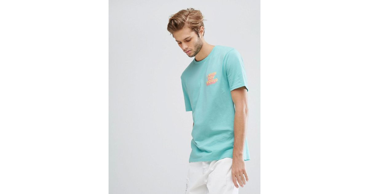 asos relaxed t shirt with i wish you would print in blue