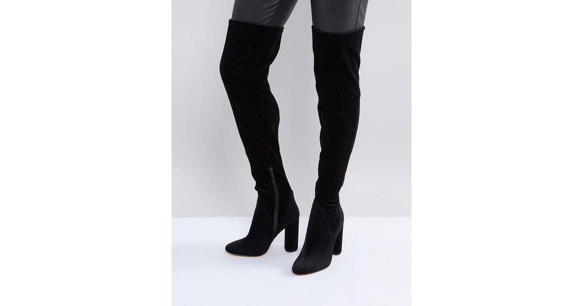972c628fefc ALDO Black Tenesha Velvet Over The Knee Boots
