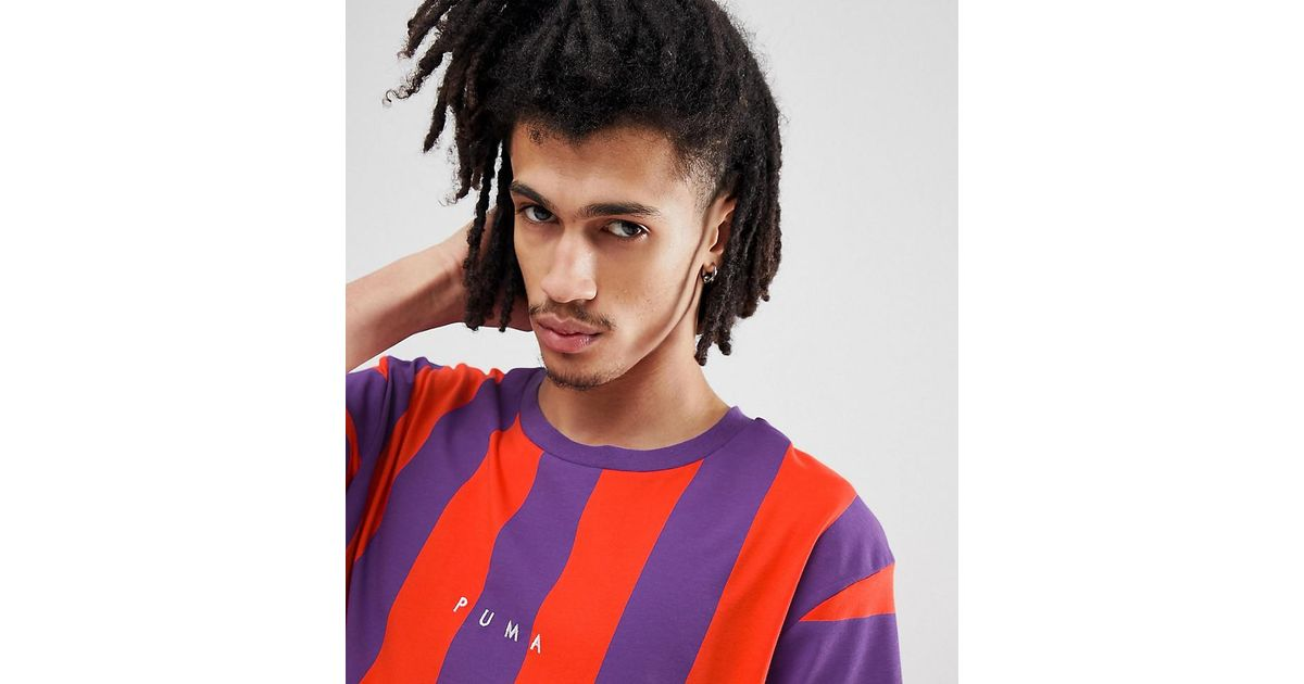 efbf9ddbec7b Lyst - PUMA Vertical Stripe T-shirt In Red Exclusive At Asos in Red for Men