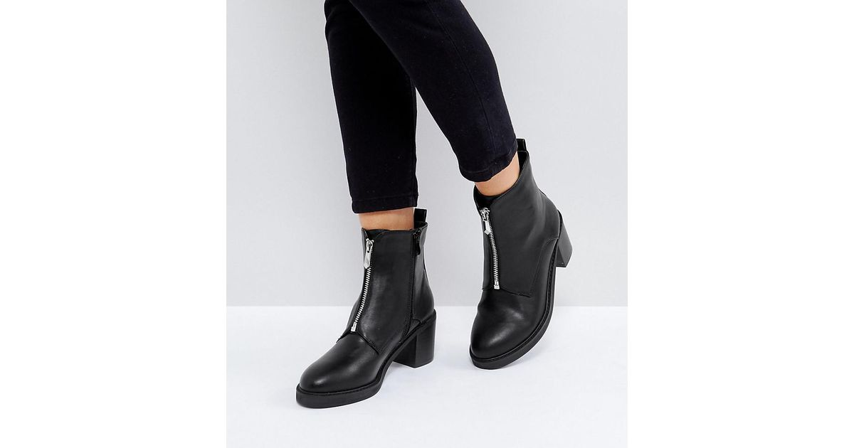 06bbdc4b1e3 The March Black Zip Front Chunky Heeled Ankle Boots