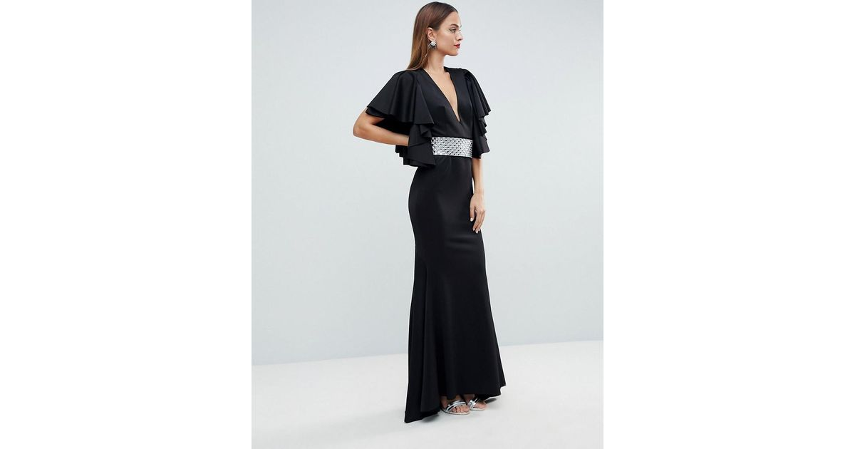 85f57a28c5 ASOS Red Carpet Deep Plunge Scuba Ruffle Sleeve Maxi Dress With Detachable  Belt in Black - Lyst