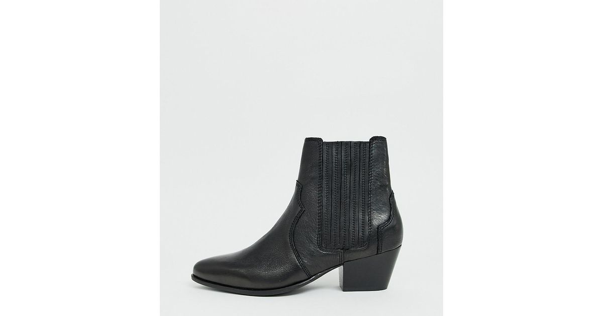 Mango Leather Western Chelsea Boot In