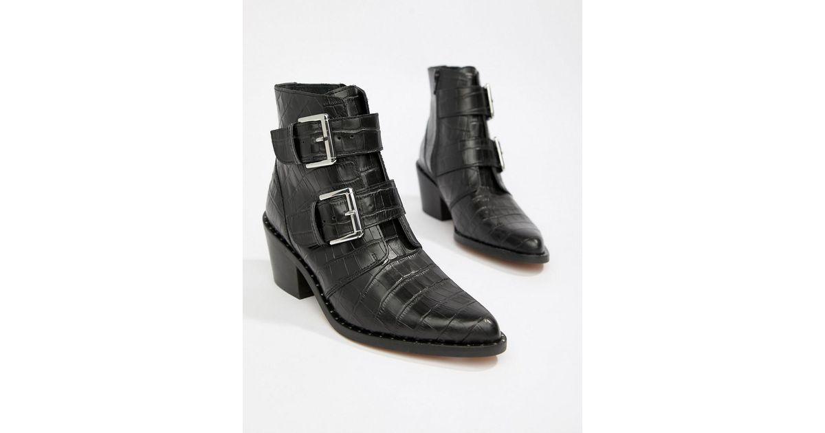 ab6f1d2f68574 Kurt Geiger Kurt Geiger Denny Black Croc Effect Black Ankle Boots With  Buckle Detail in Black - Save 34% - Lyst