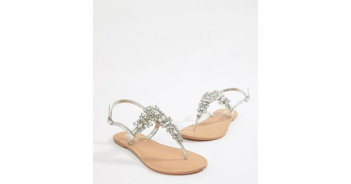 1dfa3116ab6d ASOS Fairgame Leather Embellished Flat Sandals in Metallic - Save 20% - Lyst