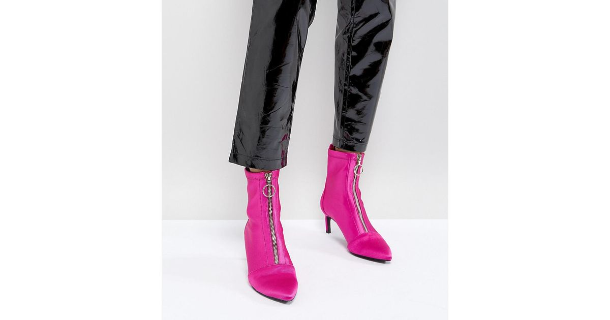 df4565485b7 Stradivarius Pink Zip Front Stiletto Boot