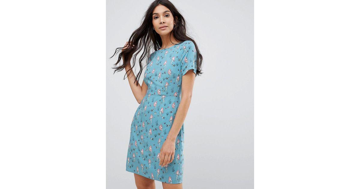 2e5bad9e3f72 Sugarhill Mermaid Print Shift Dress in Blue - Lyst