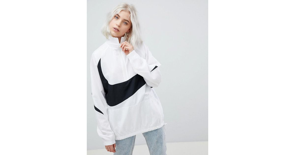 f73e2c5be63c Nike Vaporwave Oversized Half Zip Track Jacket In White With Large Swoosh  in White - Lyst