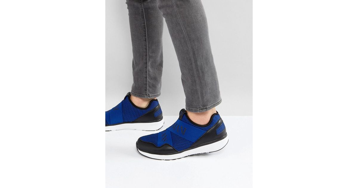 Crossover Logo Knitted Trainers in Blue - Blue Armani Jeans POfDBb