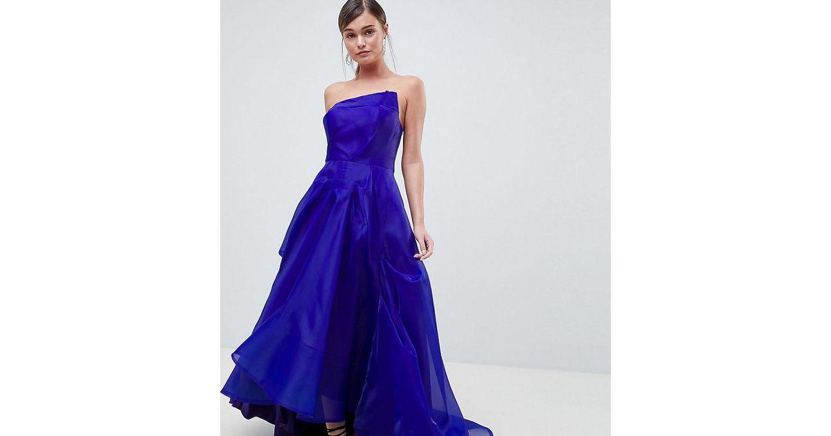 51eb3d89eef Robe longue avec buste faon origami Bariano en coloris Bleu - Lyst