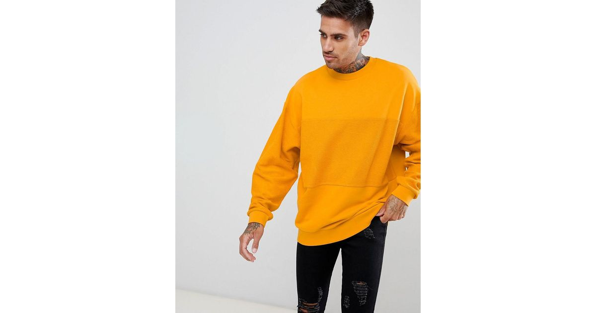 d5d8b693d57874 Lyst - ASOS Tall Oversized Sweatshirt In Yellow With Reverse Panel in Yellow  for Men - Save 37%