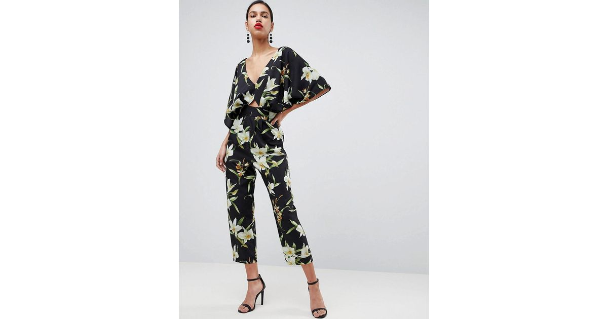 Asos Fleurs En Black Avec Combinaison Manches Kimono Coloris 0myvN8nwO