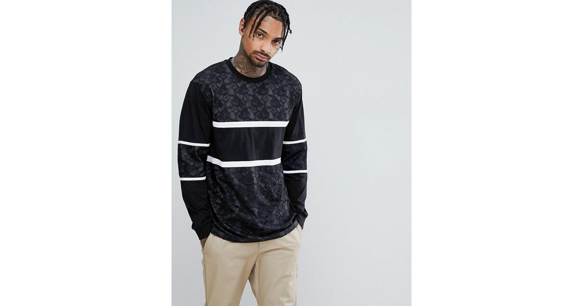 94fd7058818 Lyst - ASOS Asos Longline T-shirt In Lace With Cut And Sew in Black for Men