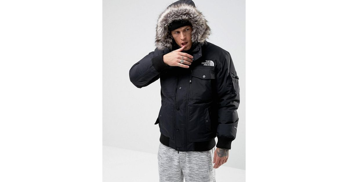 119996762 The North Face Gotham Bomber Jacket With Detachable Faux Fur Hood In Black  for men