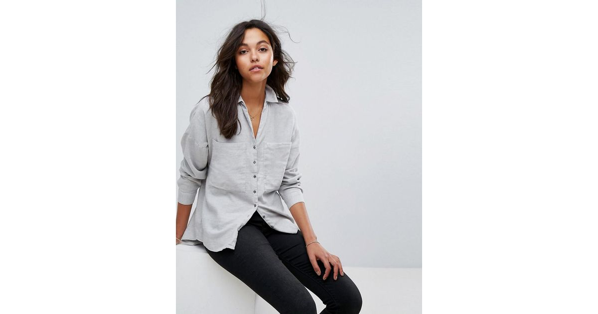 dcd8578d36 Esprit Gray Oversized Shirt With Pocket Detail