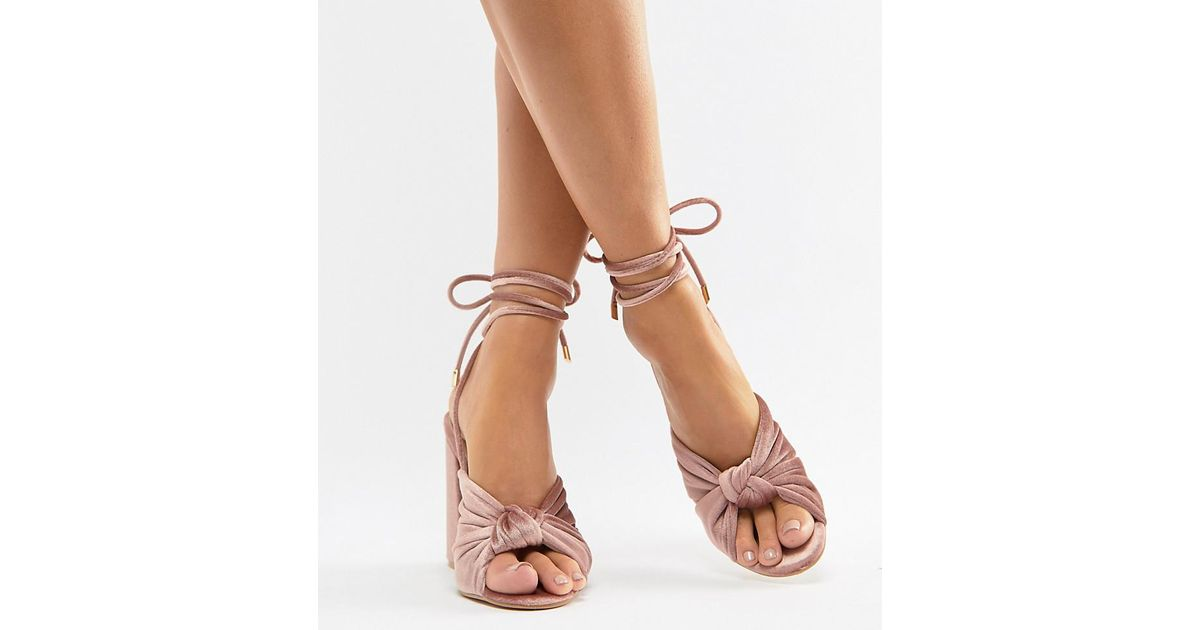 Boohoo Velvet Block Heels in Pink - Lyst
