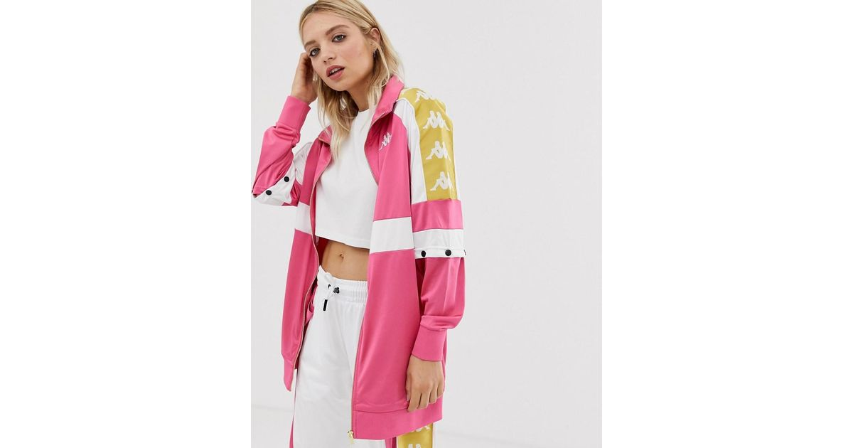 6b5e83cf Kappa Pink Popper Tracksuit Top With Banda Taping Two-piece