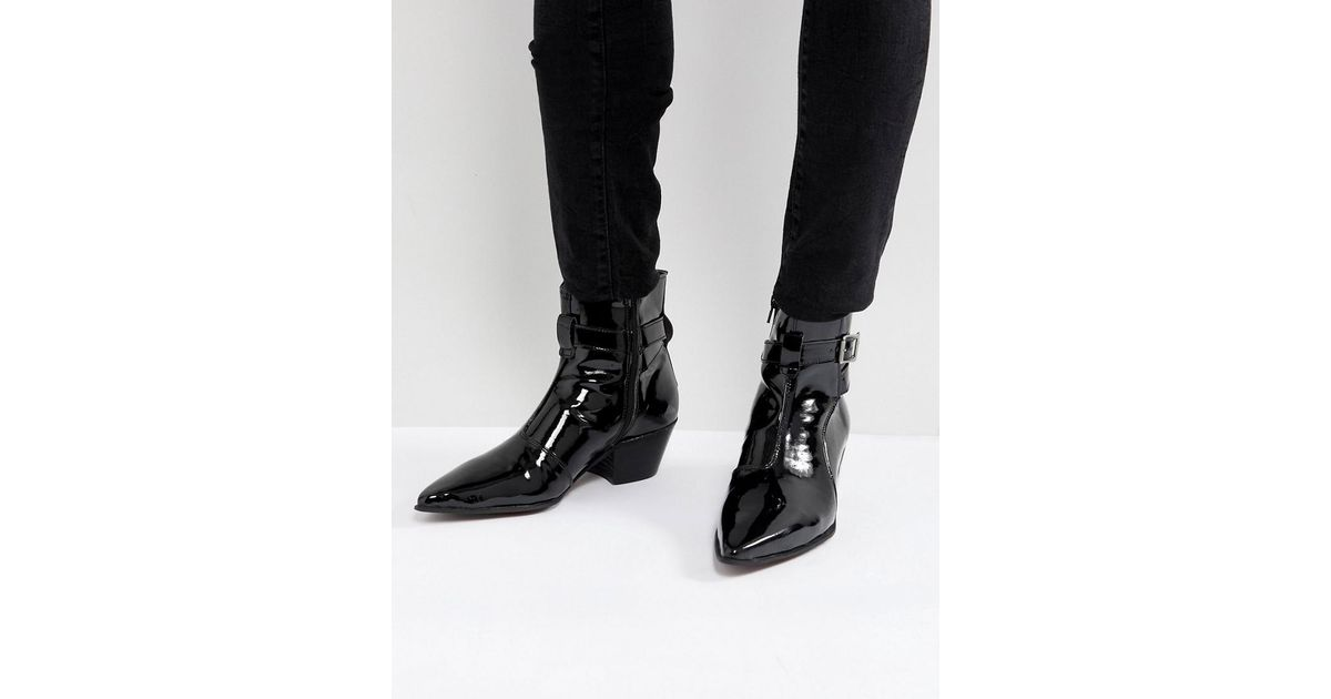 082a67ac55f ASOS Asos Chelsea Boots In Black Patent Leather With Cuban Heel in Black  for Men - Lyst