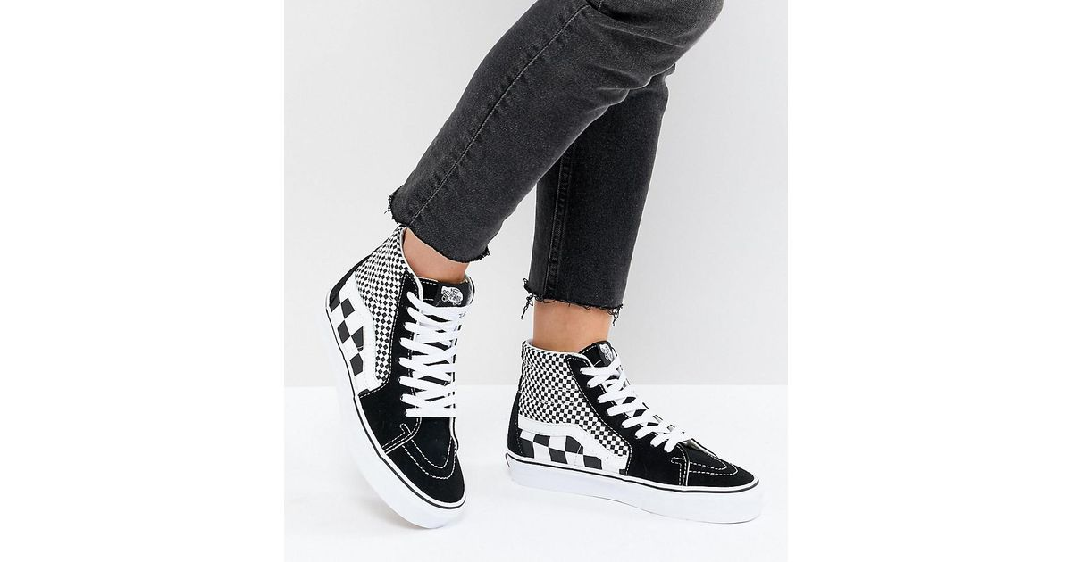 Vans Sk8 Hi Trainers In Mixed Checkerboard in Black - Lyst 281eb0833