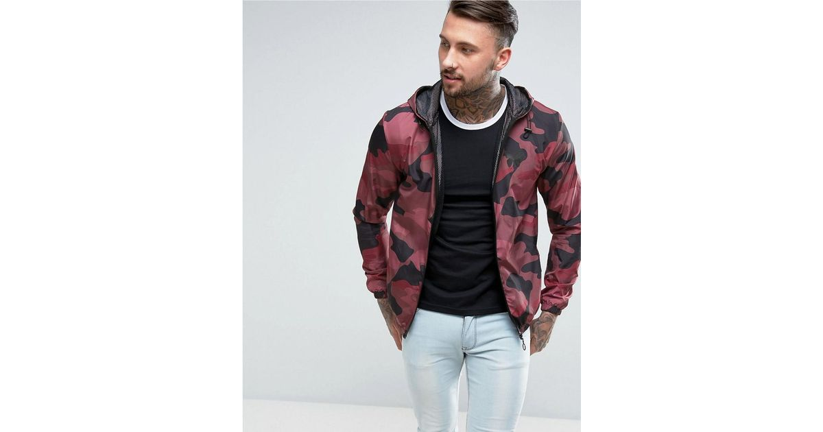 ee99dc86dcdf1 Good For Nothing Windbreaker Jacket In Burgundy Camo in Red for Men - Lyst