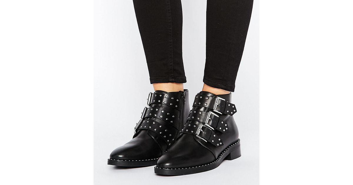 Asos Asher Bottines En Cuir Clouté - Noir L8Vv6