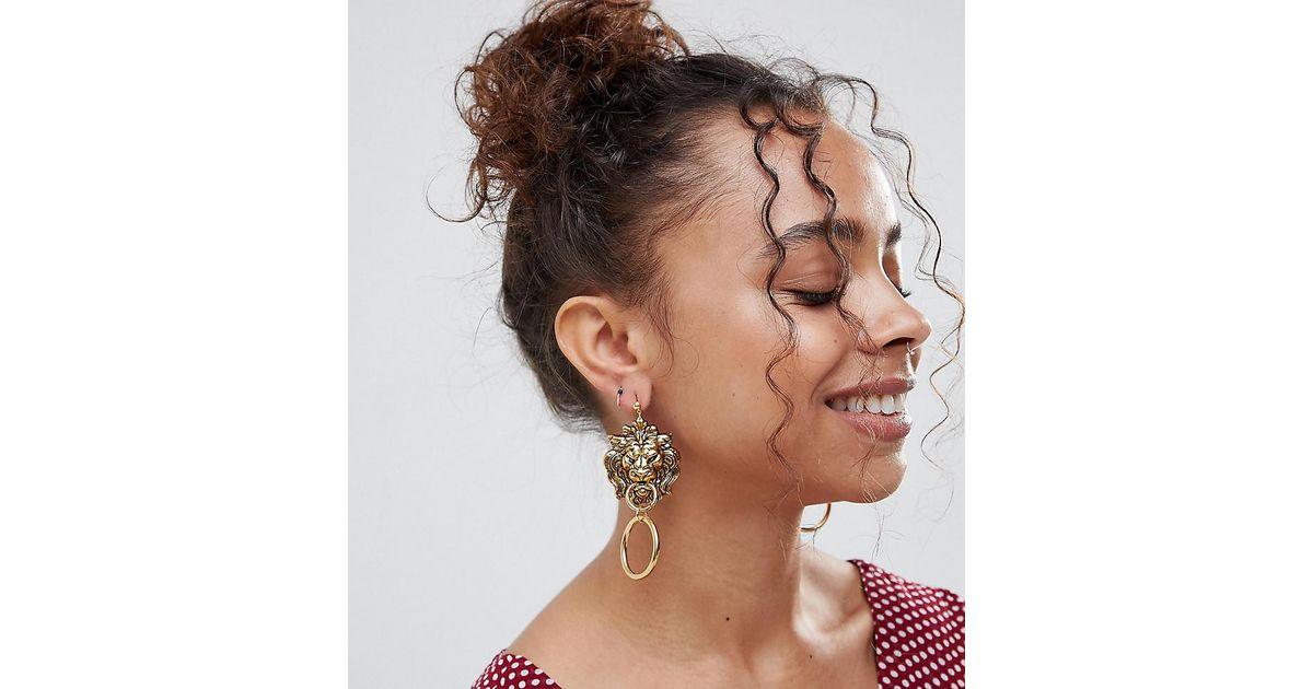 Gold Plated Lion Head Statement Door Knocker Earrings - Gold Regal Rose xxGuB