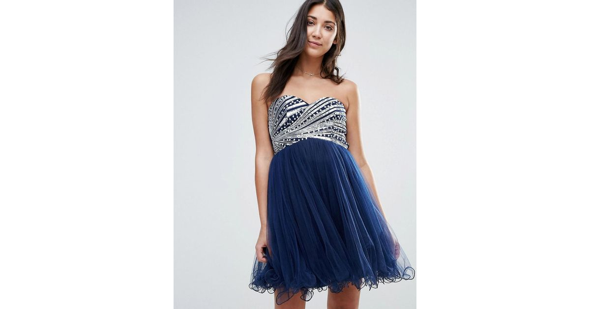 Lyst - Little Mistress Bandeau Prom Dress With Sequin Body in Blue