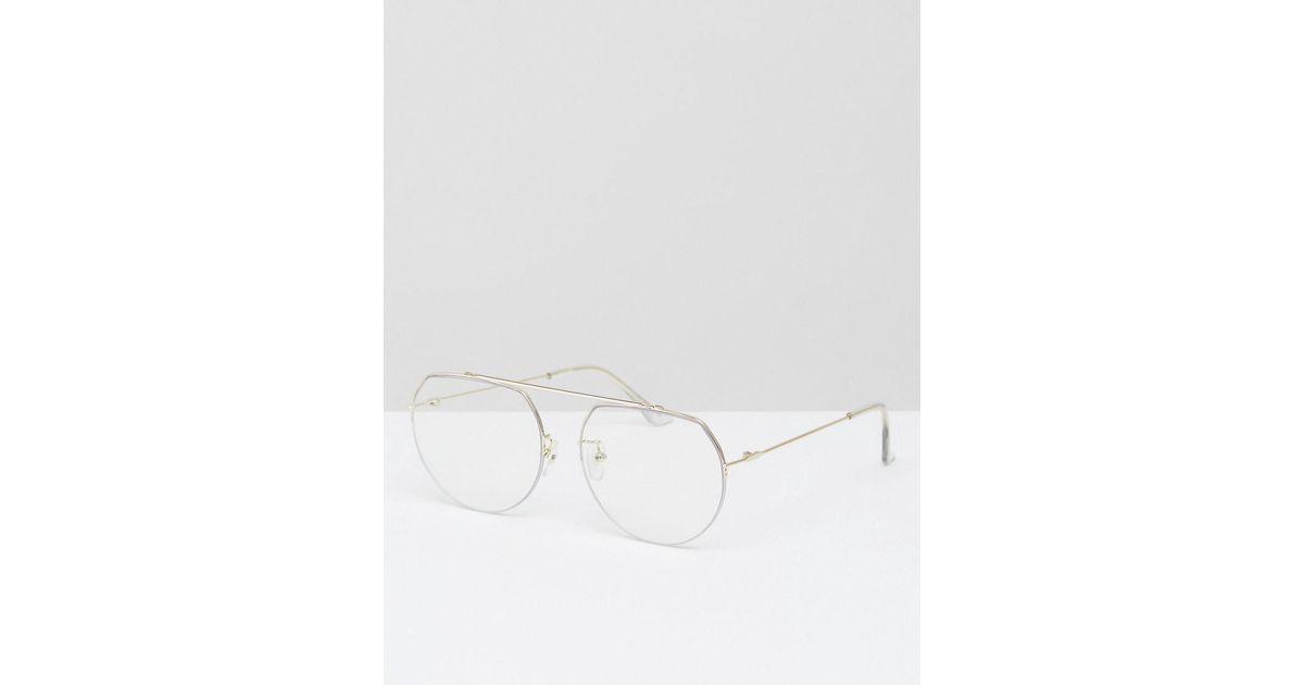 dd2bc55479776 Lyst - ASOS High Bar Clear Lens Geeky Aviator Glasses in Metallic