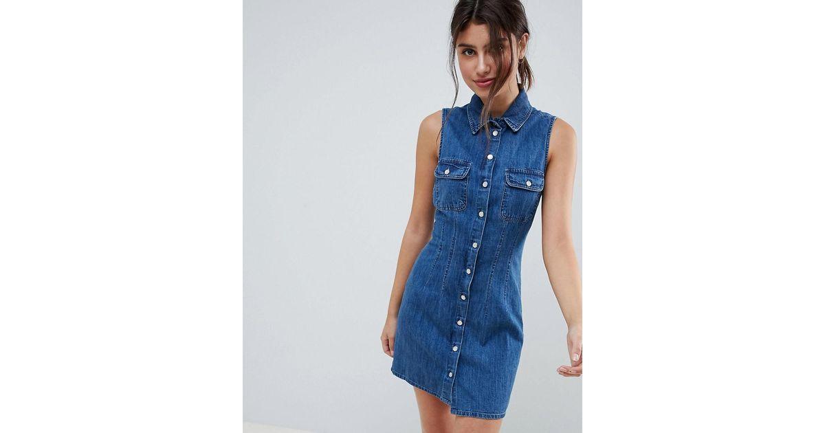 ASOS Denim Sleeveless Shirt Dress In Midwash Blue