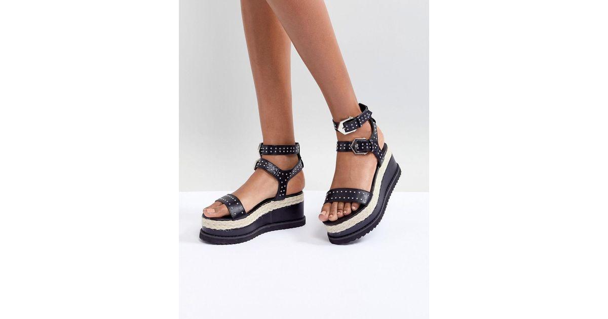 Sandals Platform Espadrille Black Boohoo Studded A34q5RjcL