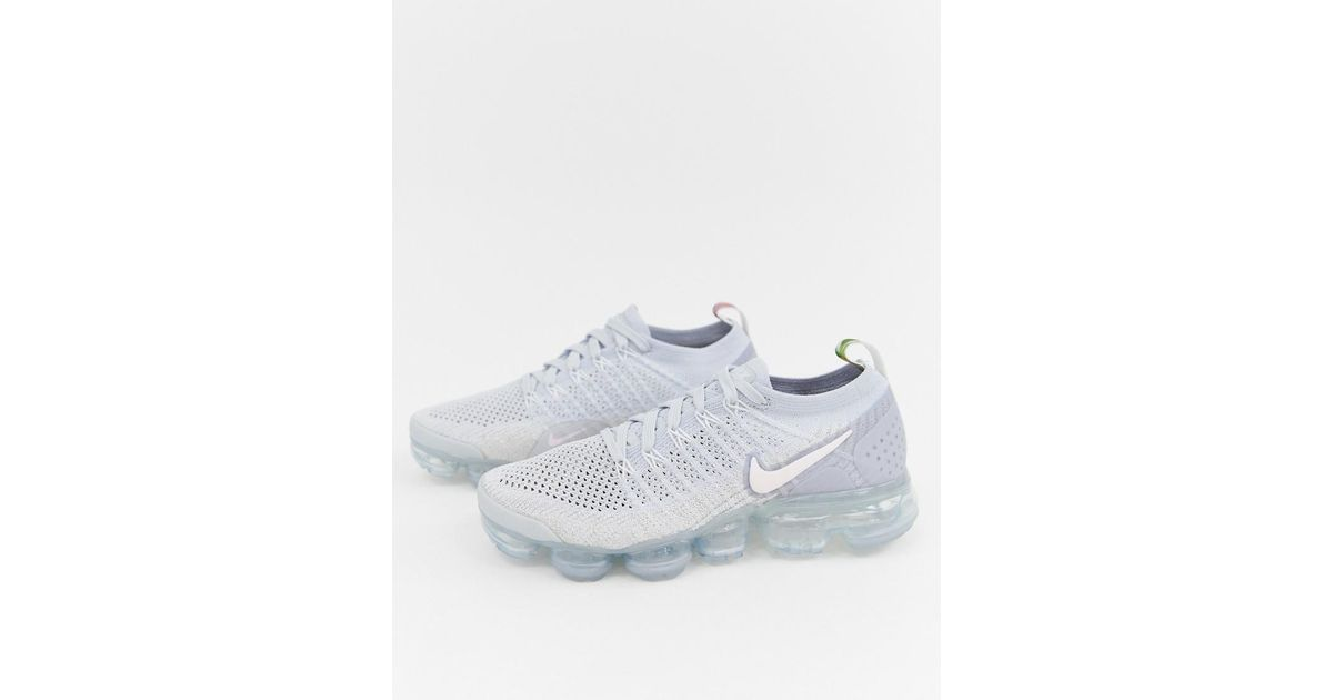 timeless design 25892 28034 Nike Metallic Vapormax Flyknit Trainers In Silver And Pink