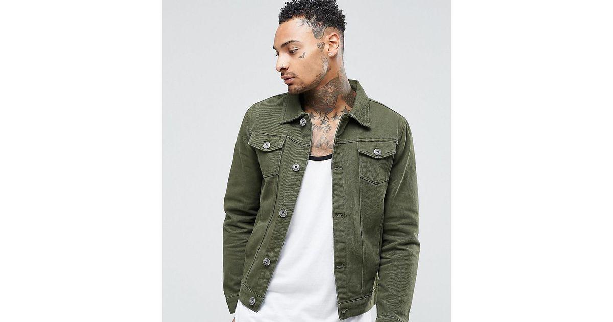 c60a5f0d67 Lyst - Liquor N Poker Khaki Denim Jacket in Green for Men