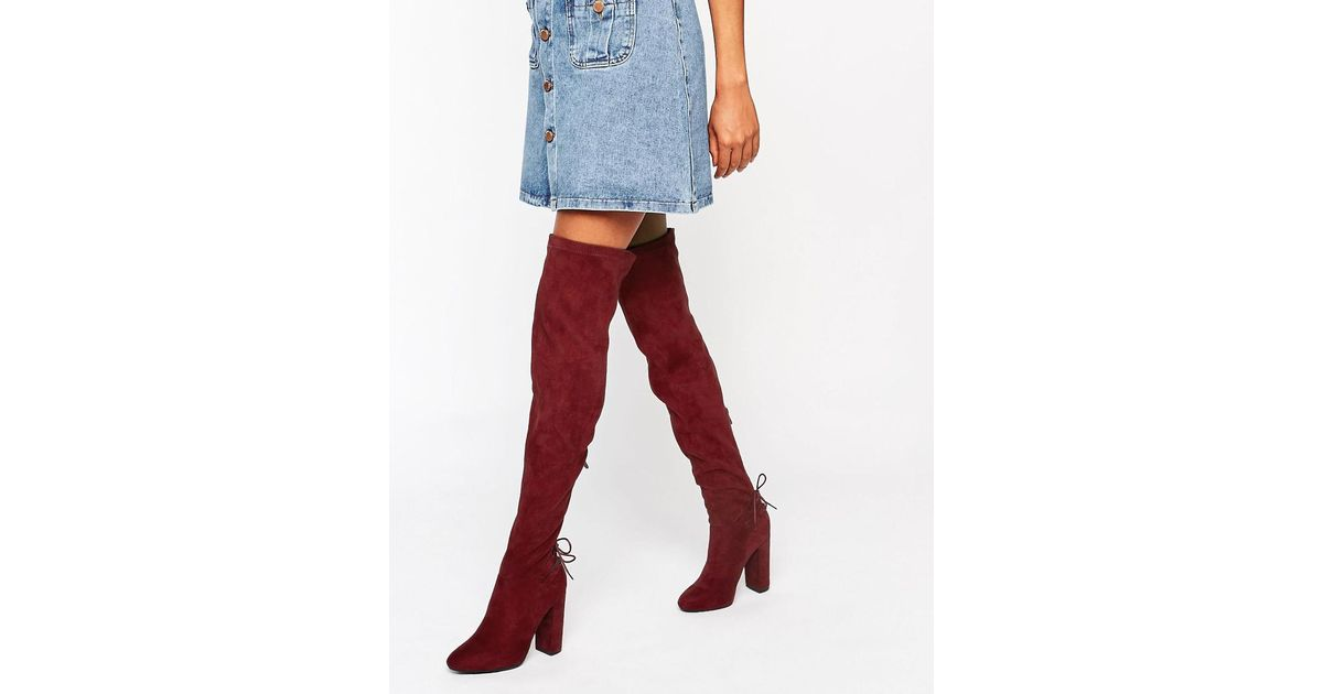 297634a1044e Public Desire Asha Burgundy Tie Back Heeled Over The Boots in Red - Lyst