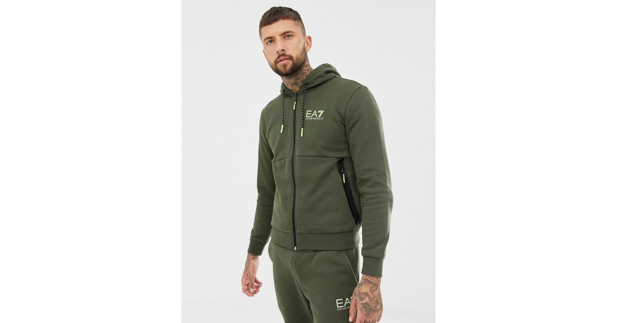 666ca78e4a EA7 Green Natural Ventus Fleece Hooded Zip-thru Logo Tracksuit Set In Khaki  for men