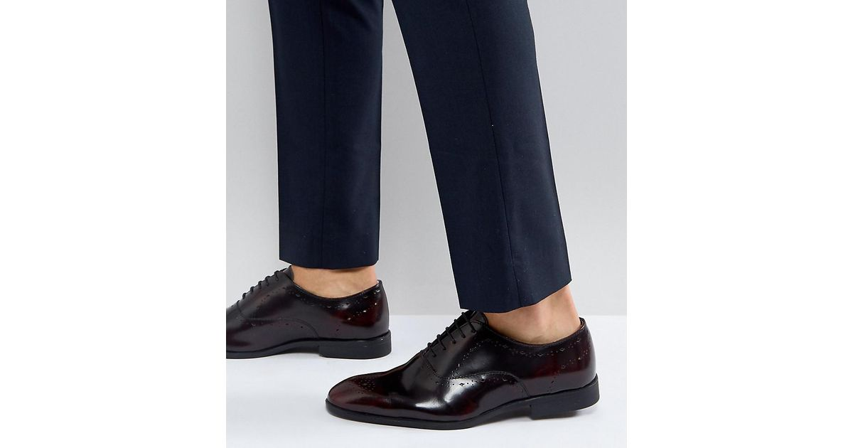 Wide Fit Oxford Brogue Shoes In Burgundy Leather - Burgundy Asos 1qeMHIq