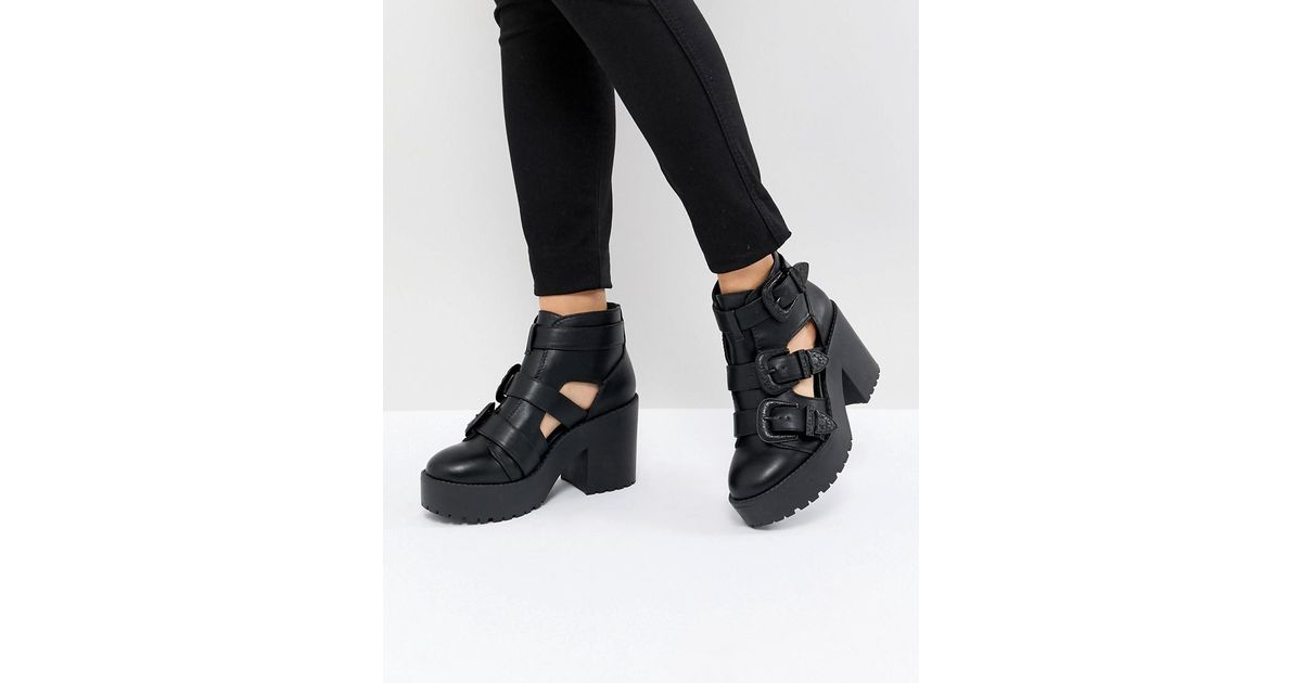 ASOS DESIGN Ester Chunky Western Cut Out Boots TrWjTEU
