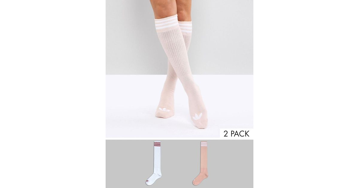 new style af1f6 70042 Lyst - adidas Originals 2 Pack Knee High Socks