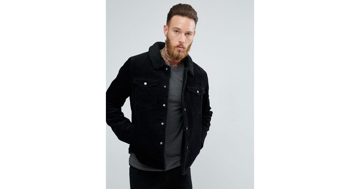 Borg lined cord jacket in black