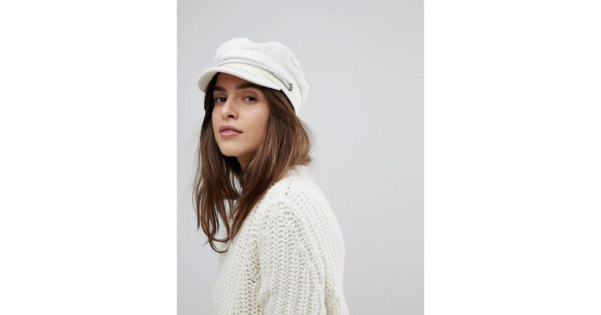 Brixton Baker Boy Hat In White Cord in White - Lyst 41cdee6dc83