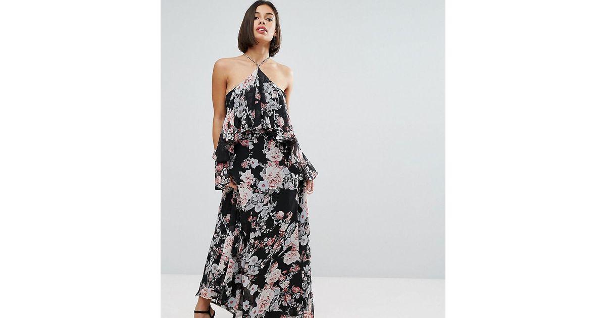 Boohoo Floral Cold Shoulder Ruffle Maxi Dress In Black