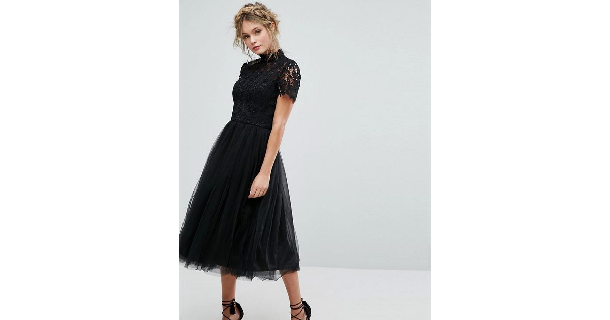 Lyst Chi Chi London High Neck Lace Midi Dress With Tulle Skirt In