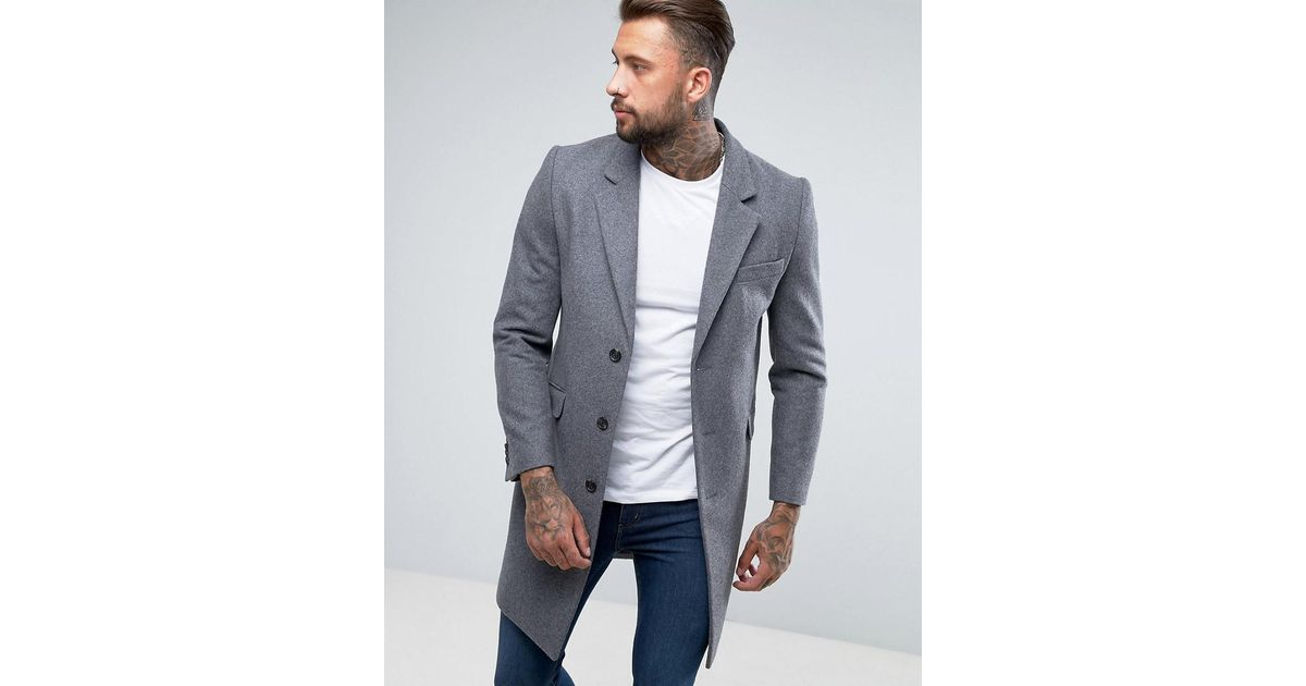 look good shoes sale factory outlet the best attitude ASOS Gray Wool Mix Overcoat In Light Grey for men