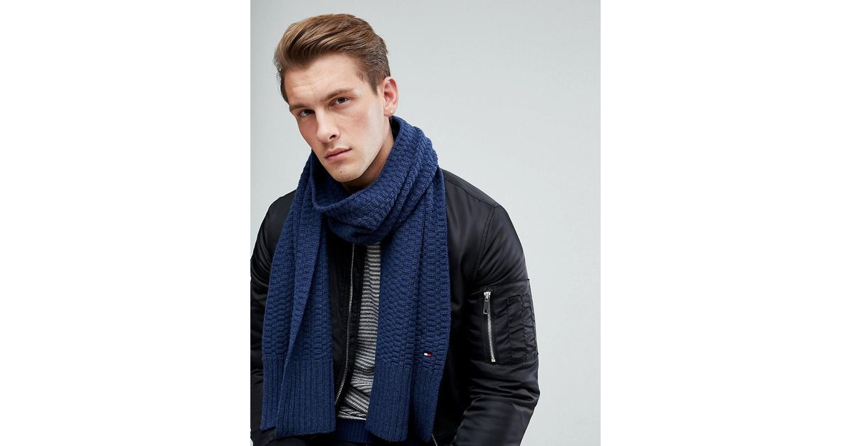 2933e6eb64082 Tommy Hilfiger Textured Knit Scarf In Navy in Blue for Men - Lyst