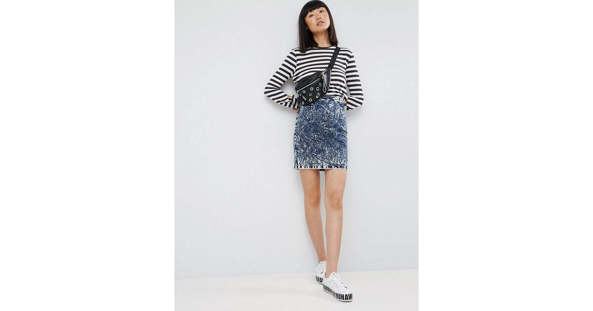 eb405466e Asos Denim Mini Skirt In Blue Acid Wash in Blue - Lyst