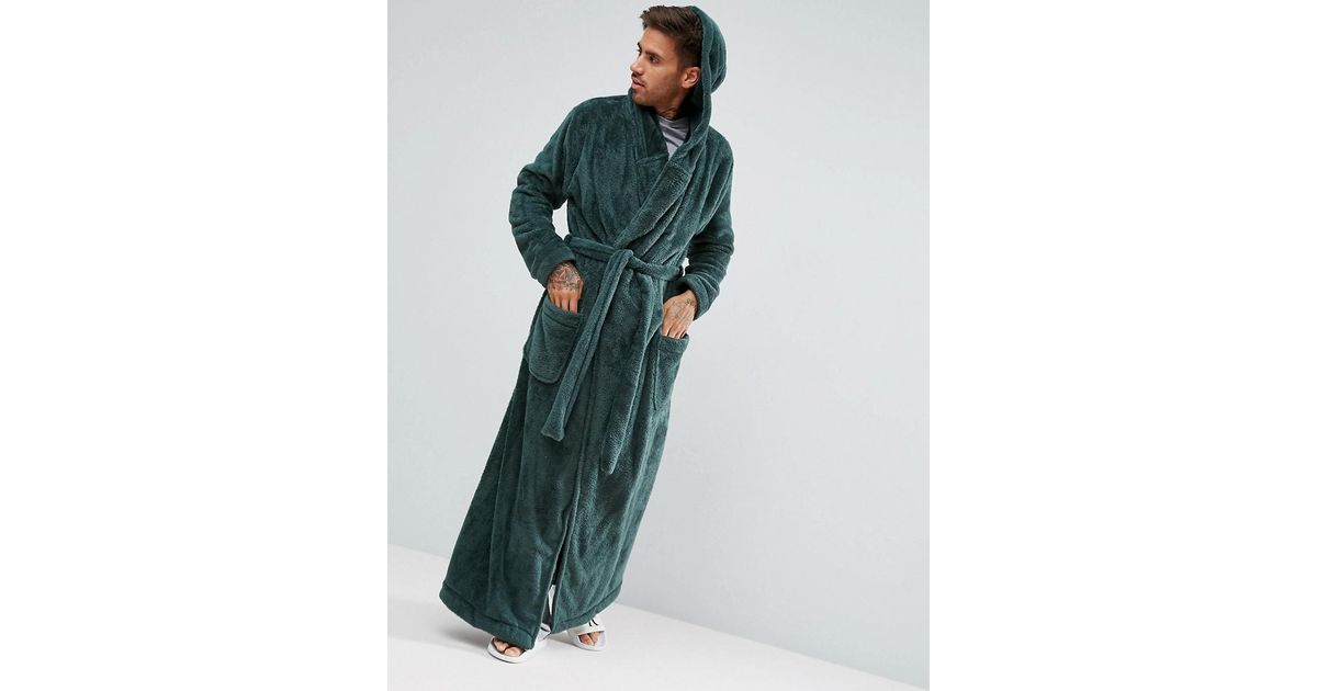 Asos Super Longline Hooded Dressing Gown In Fleece in Green for Men ...