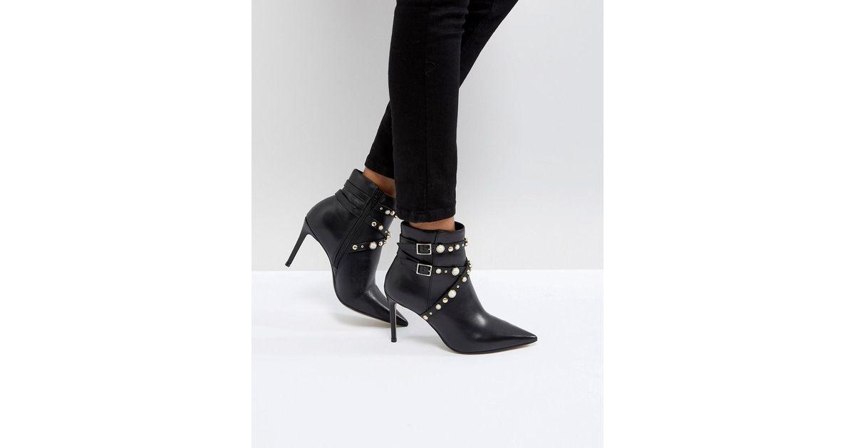 17bd343eac2 Carvela Kurt Geiger Black Granite Pearl Buckle Leather Heeled Ankle Boots