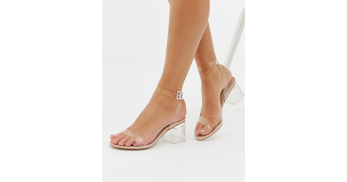 4bb9da9604c Public Desire Natural Afternoon Mid Clear Heeled Sandals