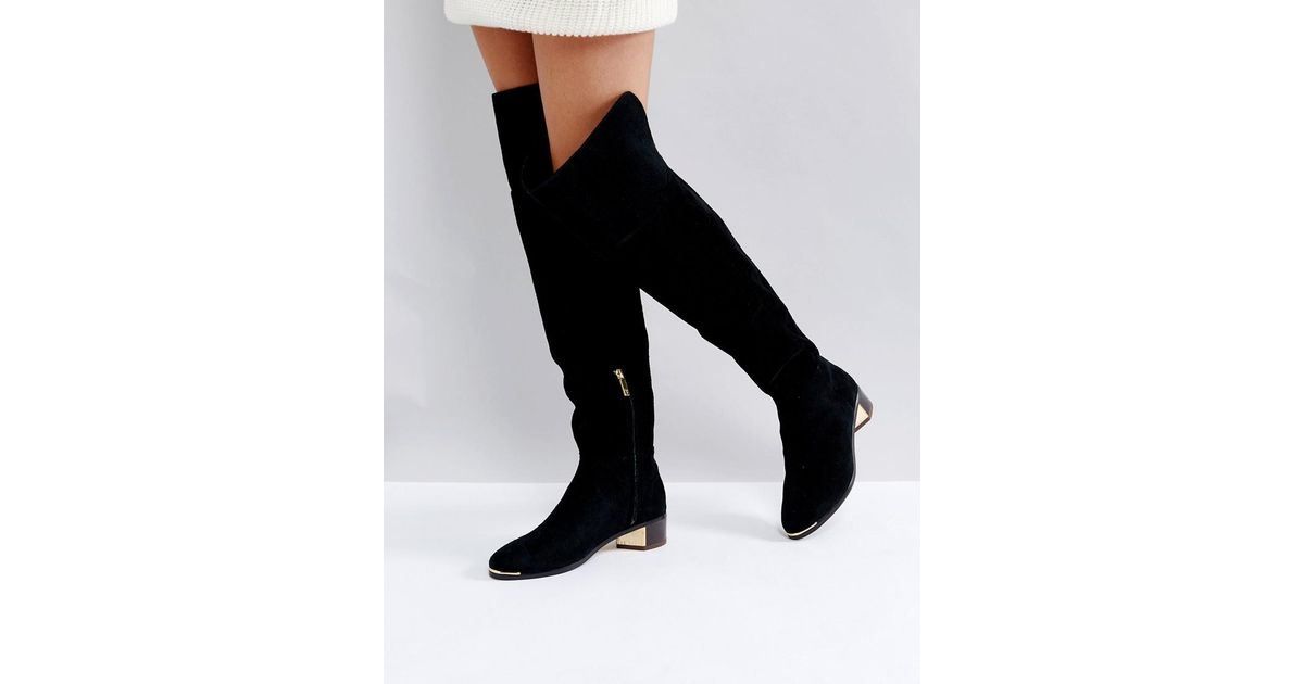 53ce18a502637 Ted Baker Nayomie Black Suede Over The Knee Boots in Black - Lyst