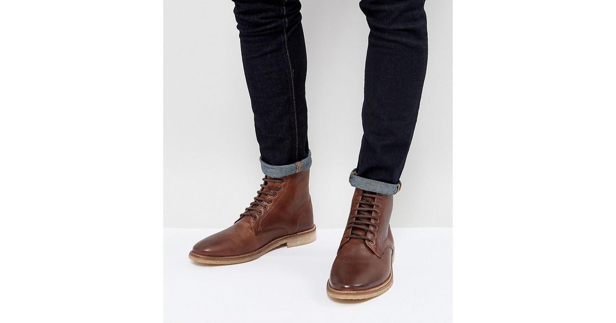 61ee7b51eac ASOS Wide Fit Lace Up Boots In Tan Leather With Natural Sole in Brown for  Men - Lyst