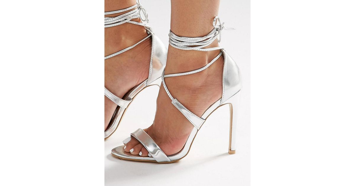 ed5ba165a True Decadence Silver Metallic Ankle Tie Heeled Sandals in Metallic - Lyst
